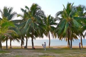 Tai-Chi am Strand von Sanya Beach auf Hainan