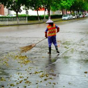 Laub fegen in China