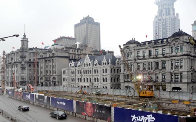 Baustellen am Bund in Shanghai
